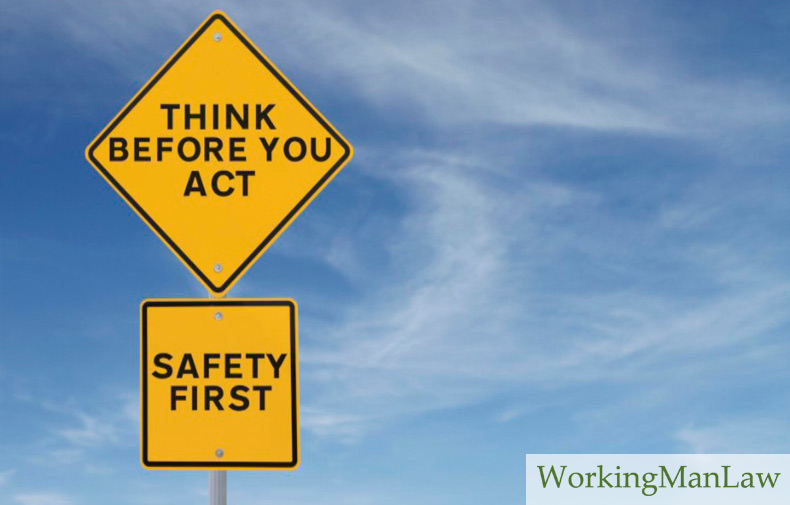 "road signs that say ""think before you act"" and ""safety first"""
