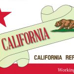 """banner that reads """"California"""" with state flag image"""